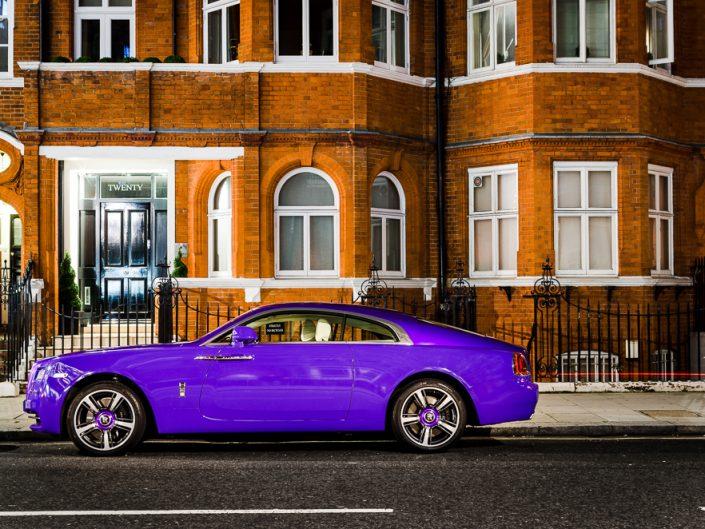 Rolls Royce Wraith purple seen in London streets - Harrods