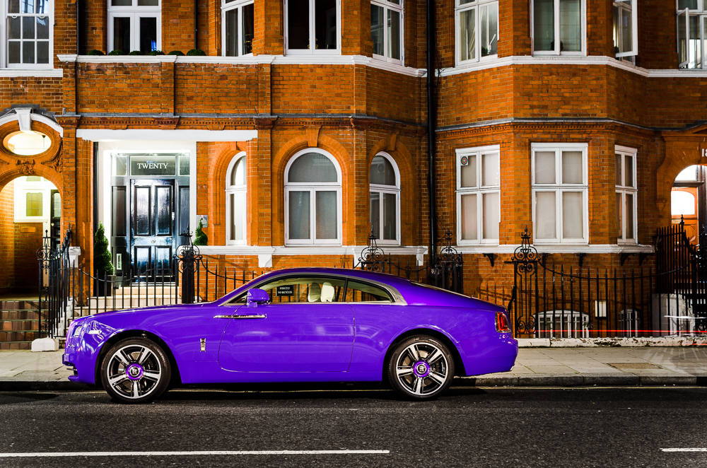 Rolls Royce Wraith purple seen in London streets - Harrods