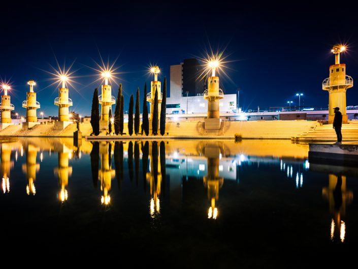 Cities - Parque de la España Industrial at night in Sants, Barcelona (Spain)