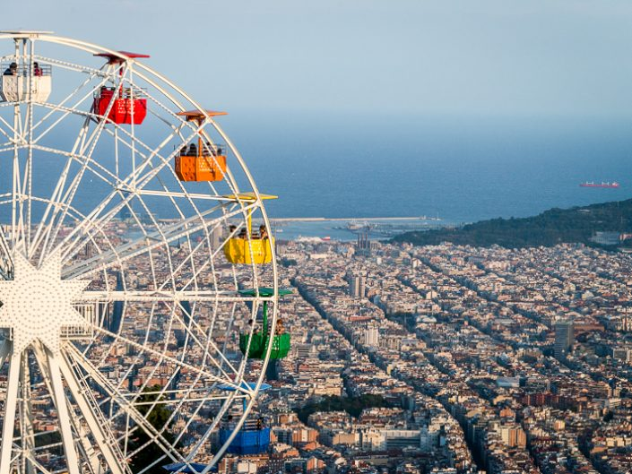 Cities - View of Barcelona from the Tibidabo Amusement Park - Theme Park in Barcelona