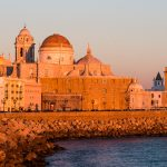 Cities - Sunset on the Cathedral of Santa Cruz in Cadiz, Andalusia, Spain
