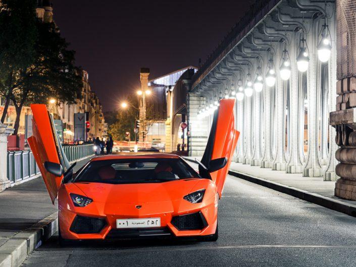 Lamborghini Aventador LP700 in Bir Hakem bridge in Paris