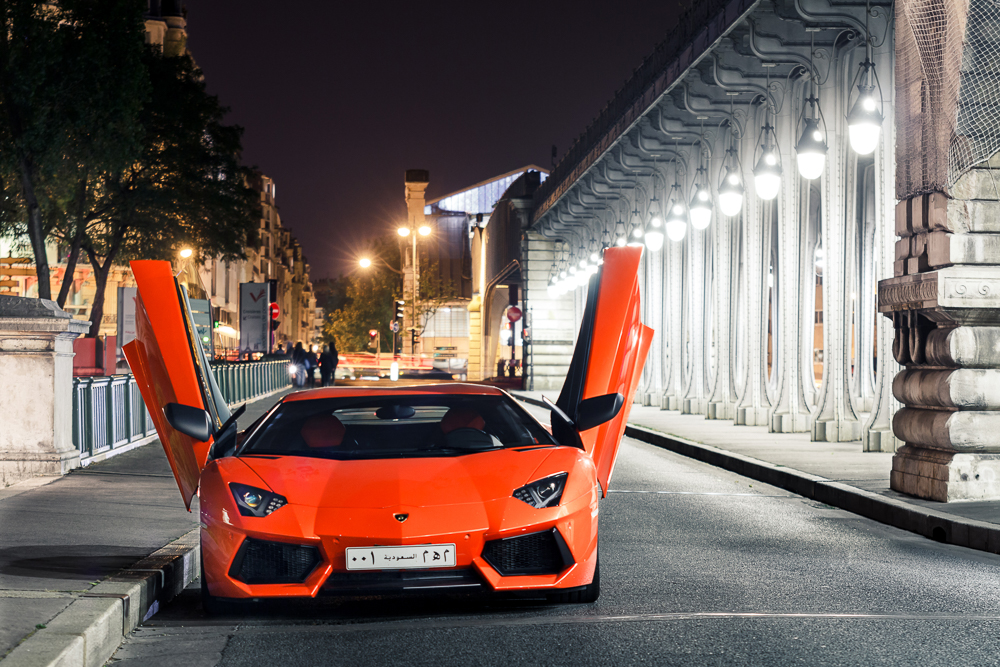 Lamborghini Aventador LP700 in Bir Hakem bridge in Paris