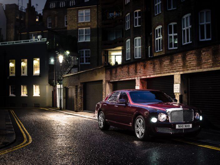 Bentley Mulsanne in the Knightbride in London at night