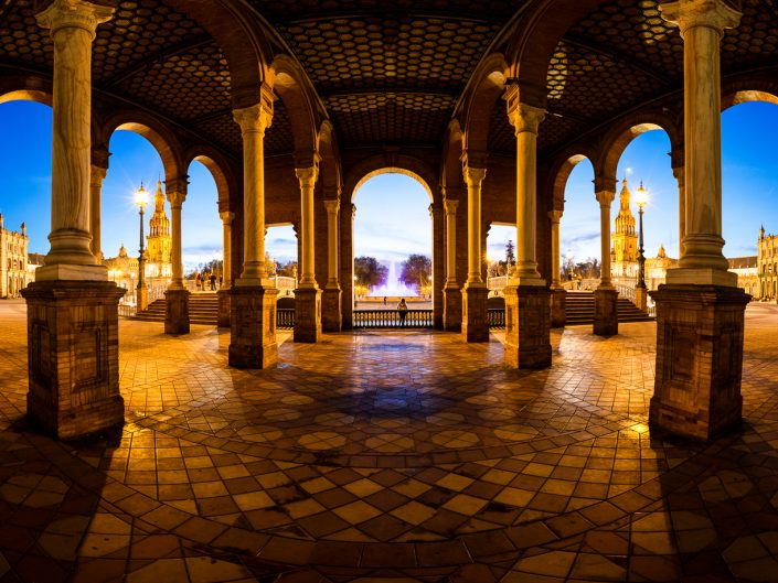 Cities - panorama of the Plaza España at blue hour in Sevilla, Andalusia, Spain