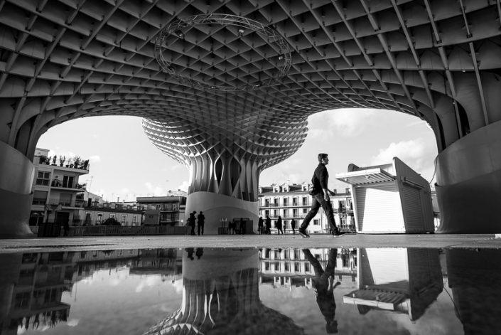 reflections in Sevilla - metropol parasol wooden structure Las Setas