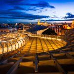 Cities - View of Seville at sunset from the metropol parasol (Las Setas)
