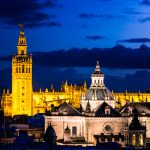 Seville Cathedral And Giralda Tower from the metropol parasol (Las Setas)
