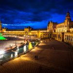 Cities - view of the Plaza España at blue hour in Sevilla, Andalusia, Spain