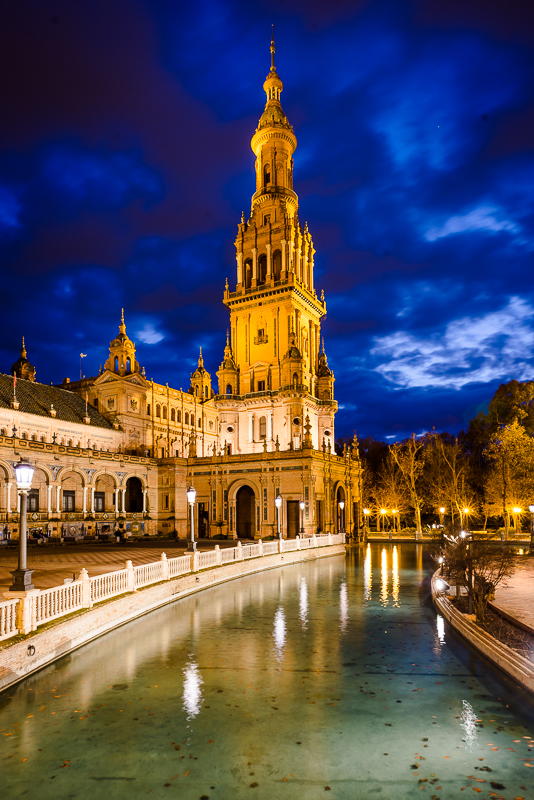 Tower of the Plaza España at night in Sevilla, Andalusia, Spain