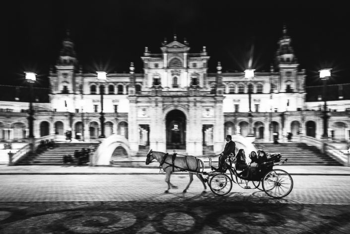 Cities - Horses of the Plaza España at night in Sevilla, Andalusia, Spain