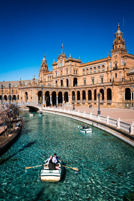 small boat of Plaza España in the sunny Sevilla, Andalusia, Spain